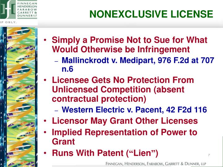 NONEXCLUSIVE LICENSE