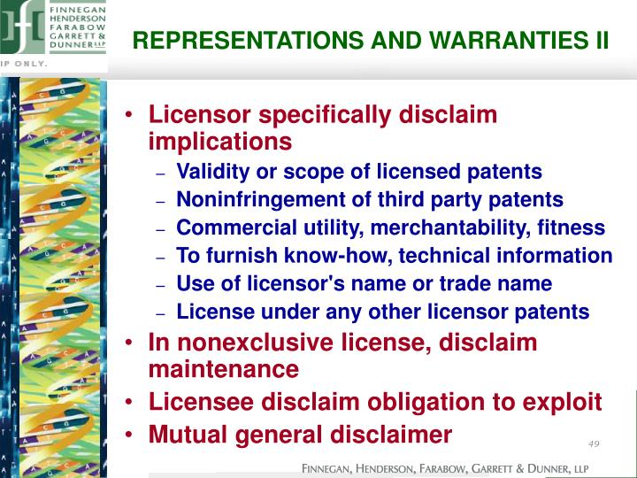 REPRESENTATIONS AND WARRANTIES II