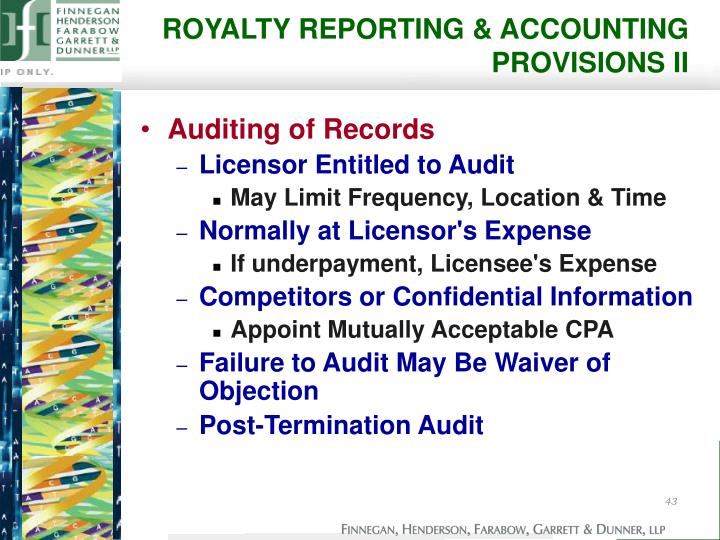 ROYALTY REPORTING & ACCOUNTING PROVISIONS II