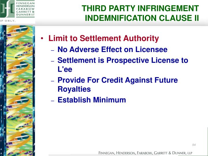 THIRD PARTY INFRINGEMENT INDEMNIFICATION CLAUSE II