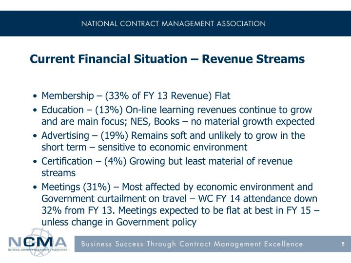 Current Financial Situation – Revenue Streams