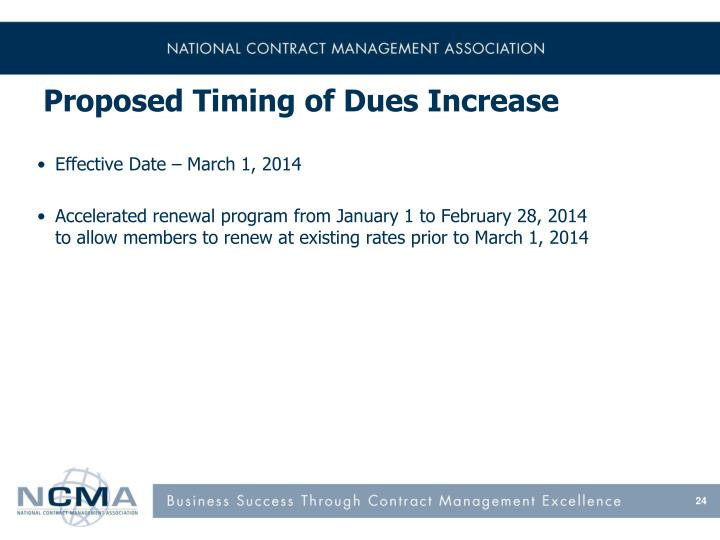 Proposed Timing of Dues Increase