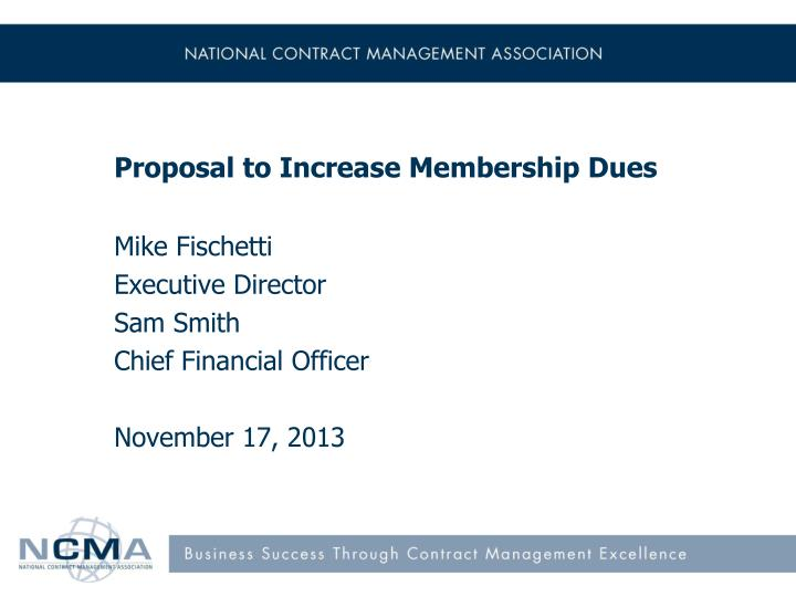 Proposal to Increase Membership Dues