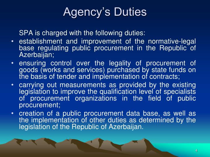Agency's Duties