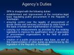 agency s duties