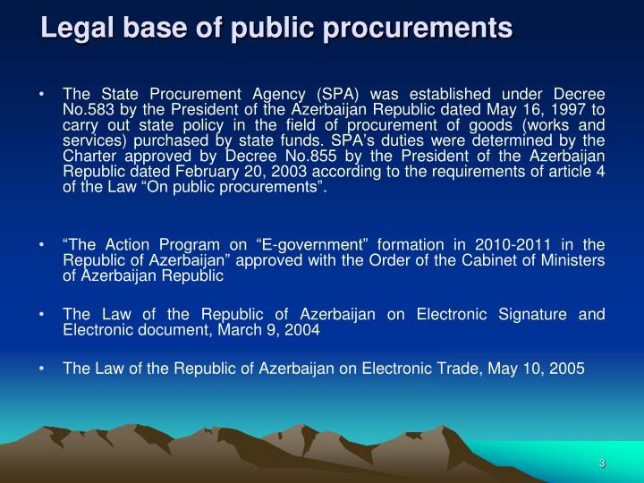 Legal base of public procurements