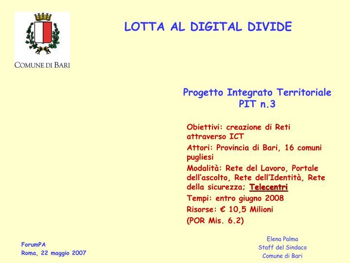 Progetto Integrato Territoriale PIT n.3