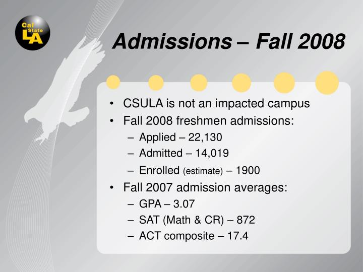 Admissions – Fall 2008