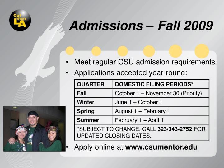 Admissions – Fall 2009