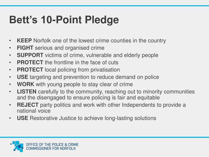 Bett's 10-Point Pledge