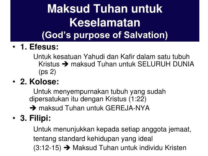Maksud Tuhan untuk Keselamatan