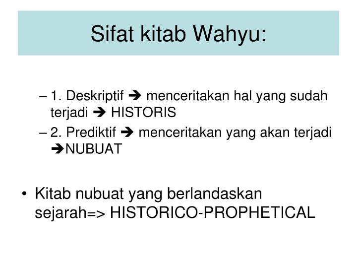 Sifat kitab Wahyu: