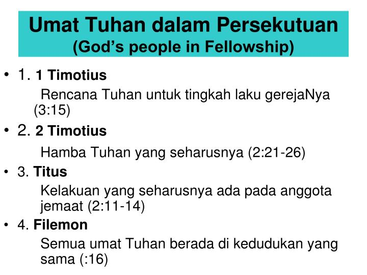 Umat Tuhan dalam Persekutuan