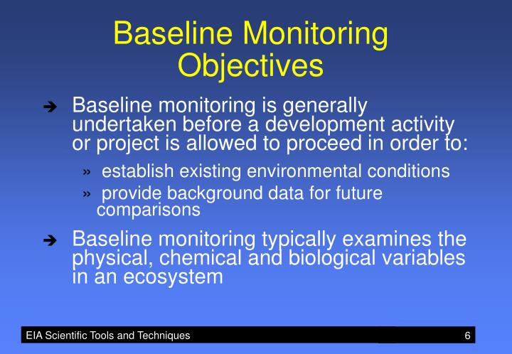 Baseline Monitoring Objectives