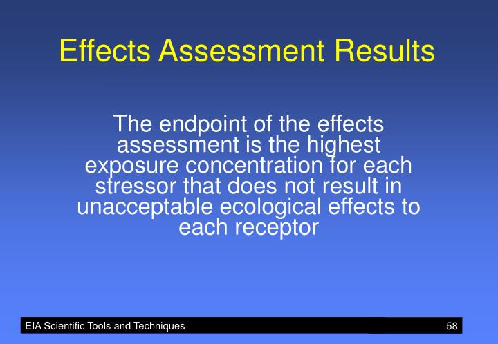 Effects Assessment Results