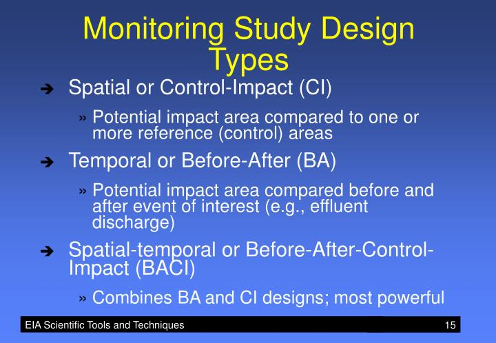 Monitoring Study Design Types