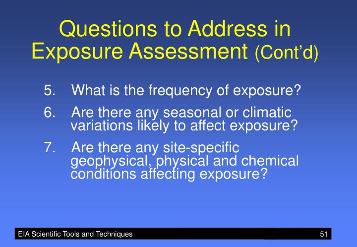 Questions to Address in Exposure Assessment