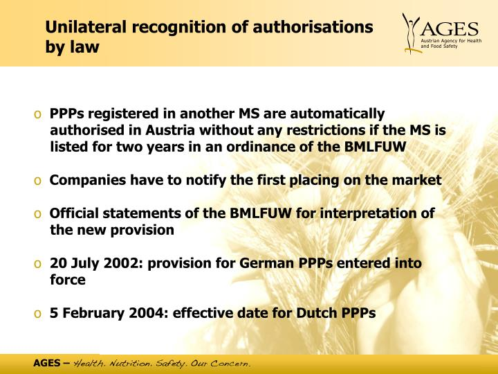 Unilateral recognition of authorisations by law