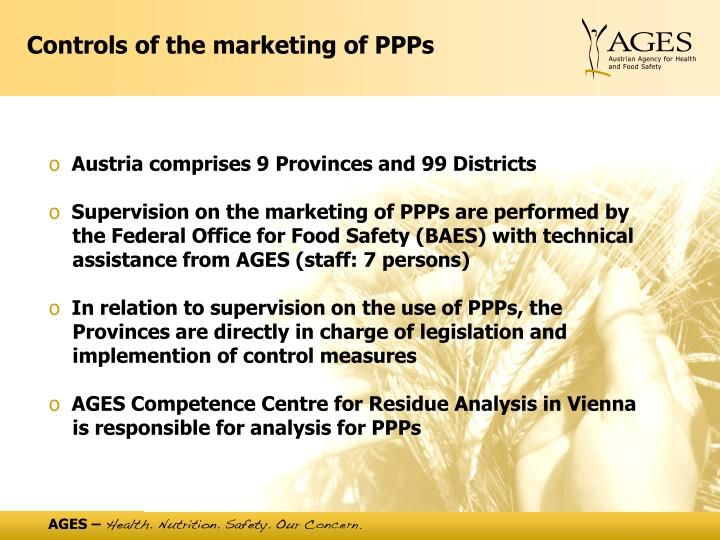 Controls of the marketing of PPPs