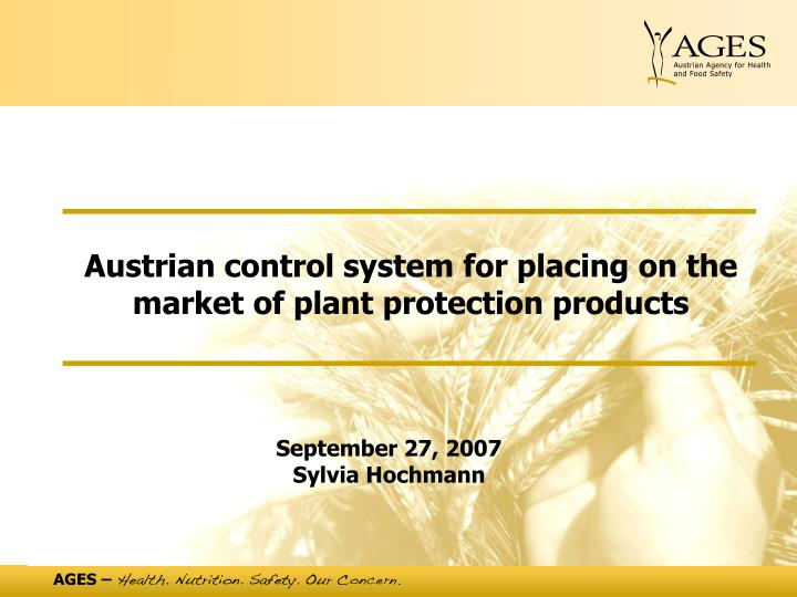Austrian control system for placing on the market of plant protection products