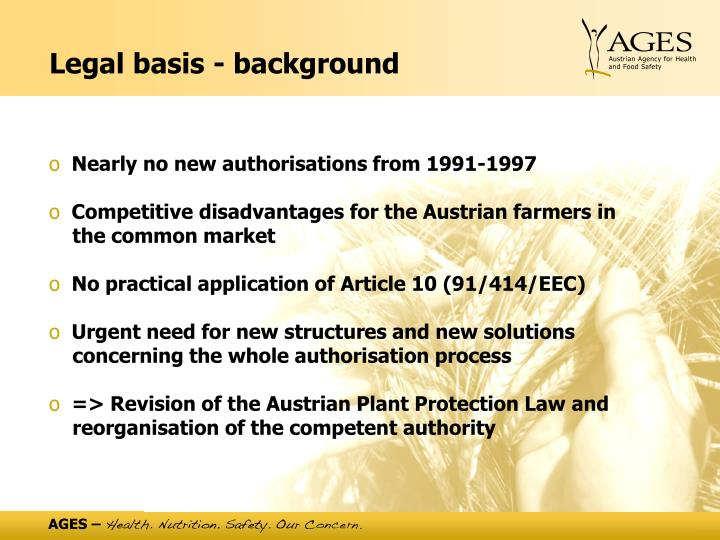 Legal basis - background