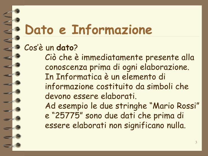 Dato e Informazione