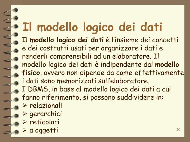 Il modello logico dei dati