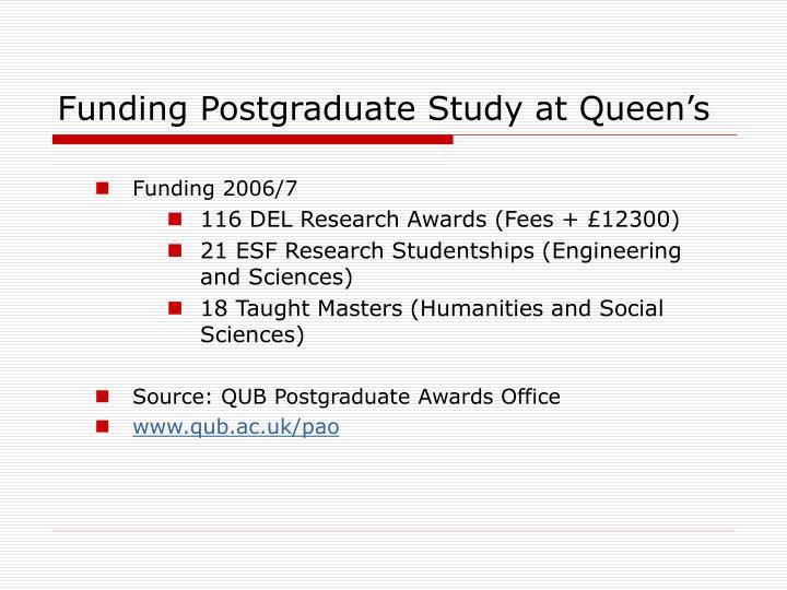 Funding Postgraduate Study at Queen's