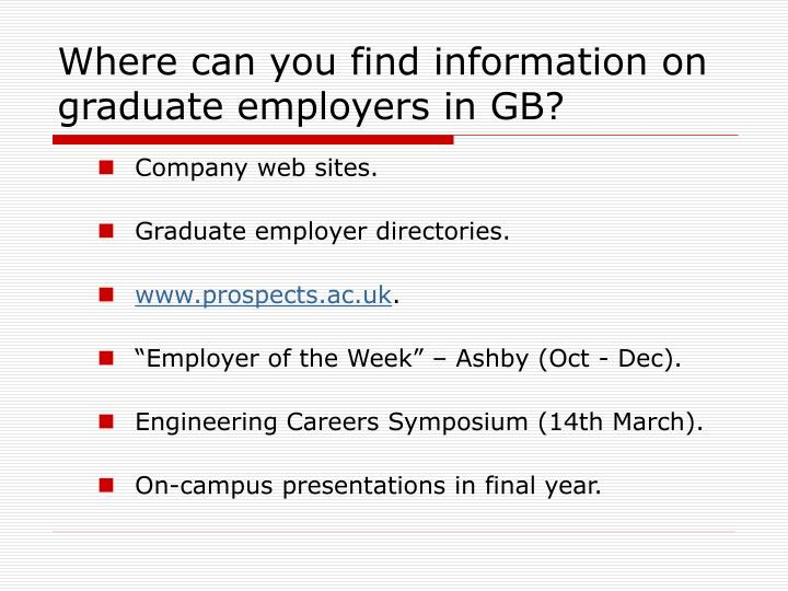 Where can you find information on graduate employers in GB?