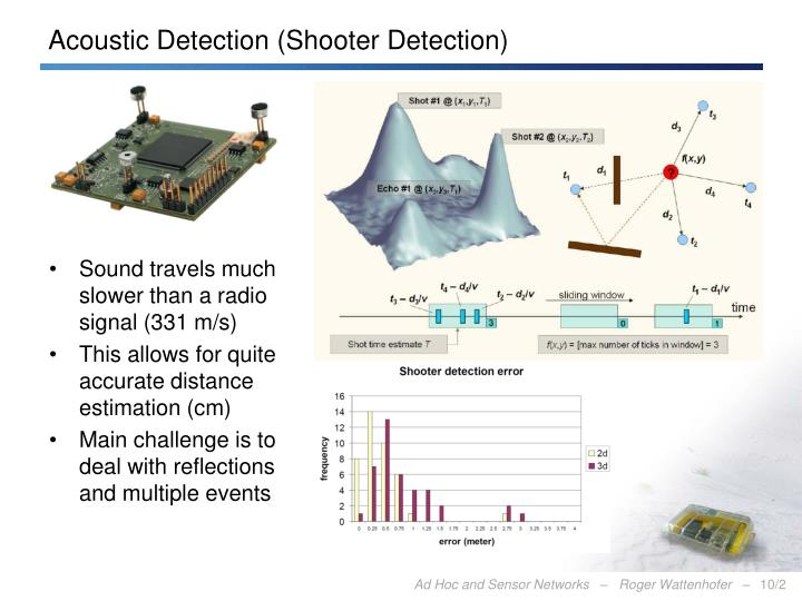 Acoustic detection shooter detection