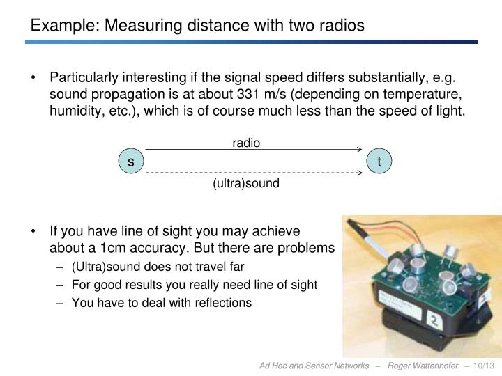 Example: Measuring distance with two radios