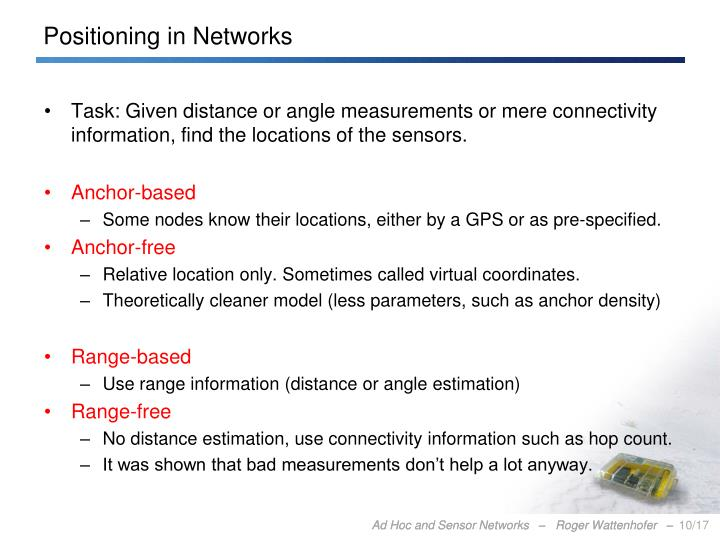 Positioning in Networks