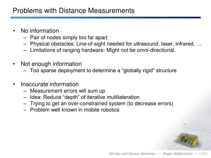 Problems with Distance Measurements
