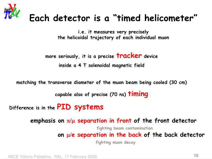 "Each detector is a ""timed helicometer"""