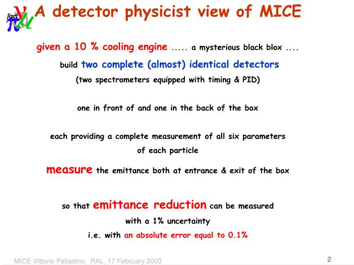 A detector physicist view of MICE