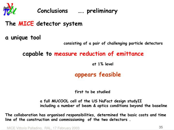 Conclusions    …. preliminary