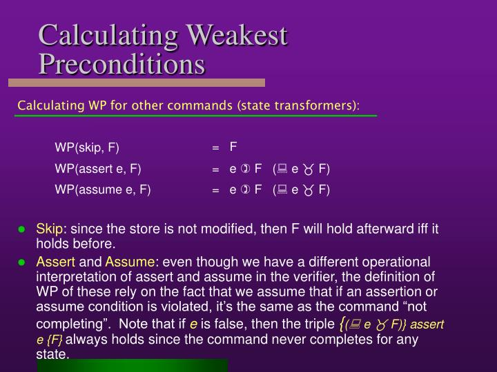 Calculating Weakest Preconditions