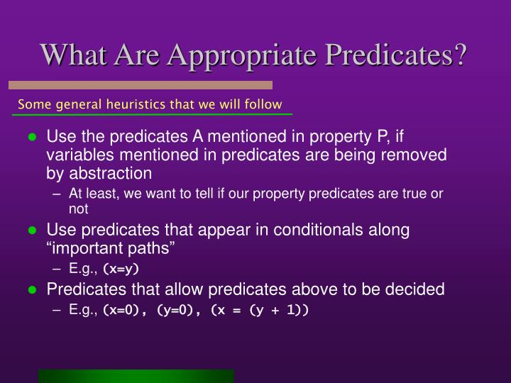 What Are Appropriate Predicates?