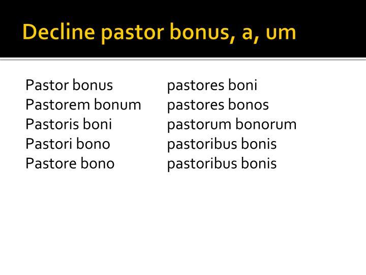 Decline pastor bonus, a, um