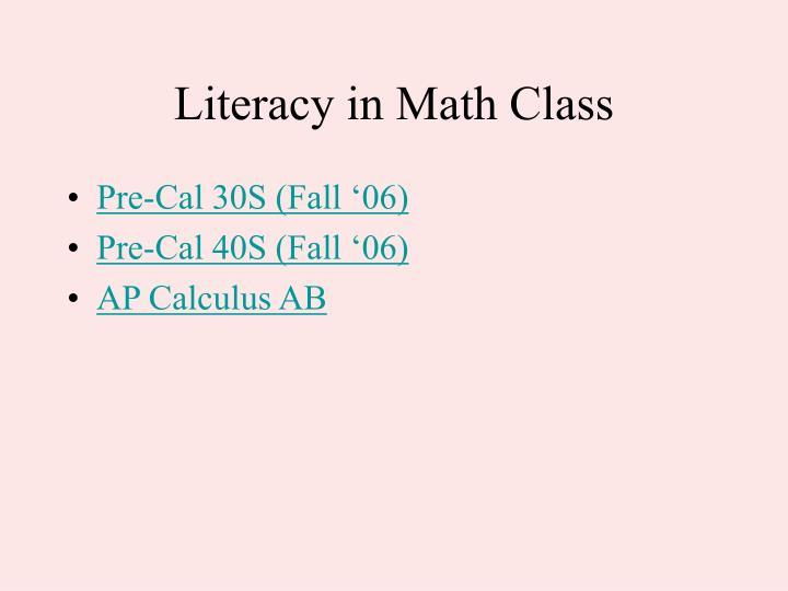 Literacy in Math Class