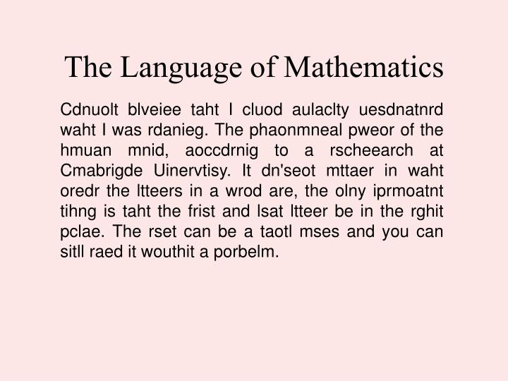 The Language of Mathematics