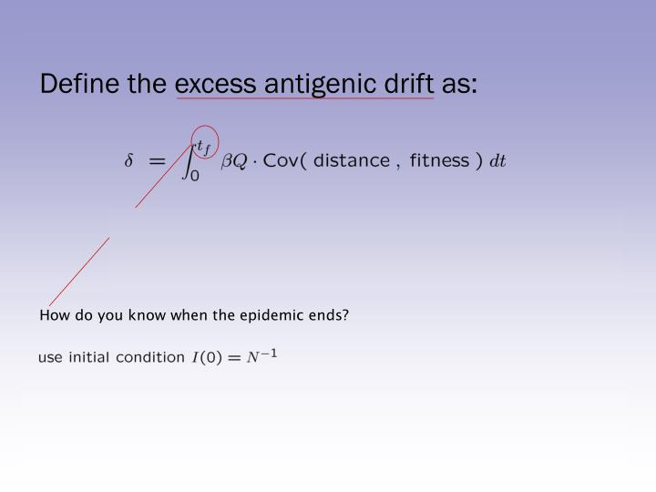 Define the excess antigenic drift as: