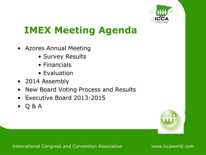 IMEX Meeting Agenda