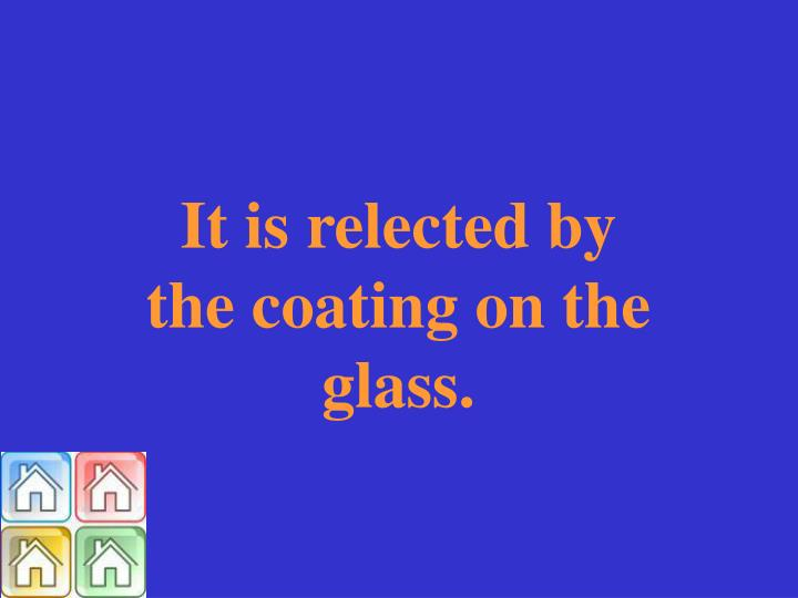 It is relected by the coating on the glass.