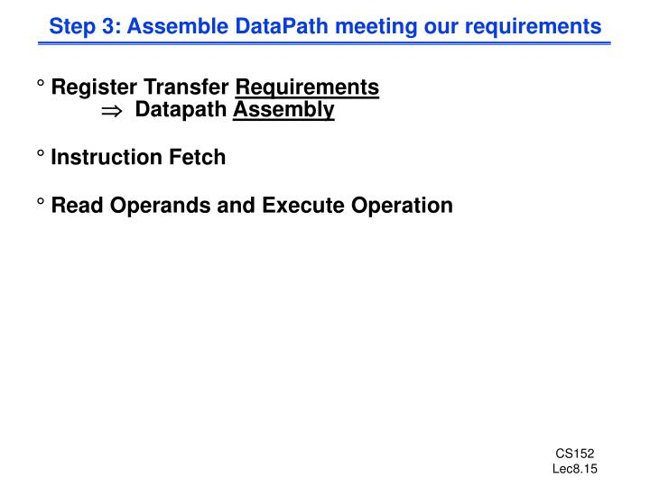 Step 3: Assemble DataPath meeting our requirements