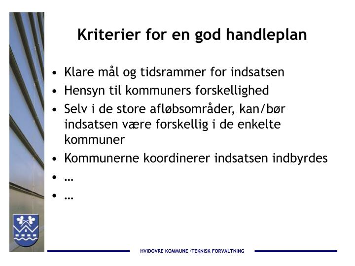 Kriterier for en god handleplan