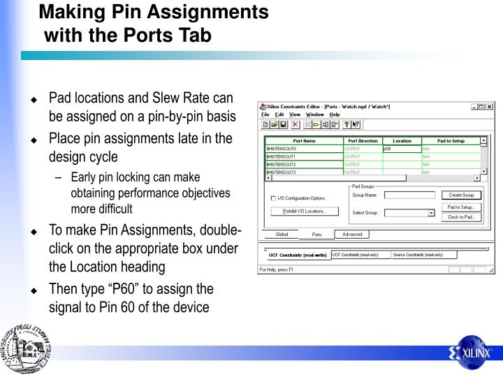 Making Pin Assignments