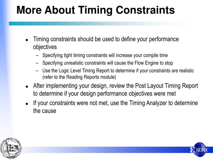 More About Timing Constraints