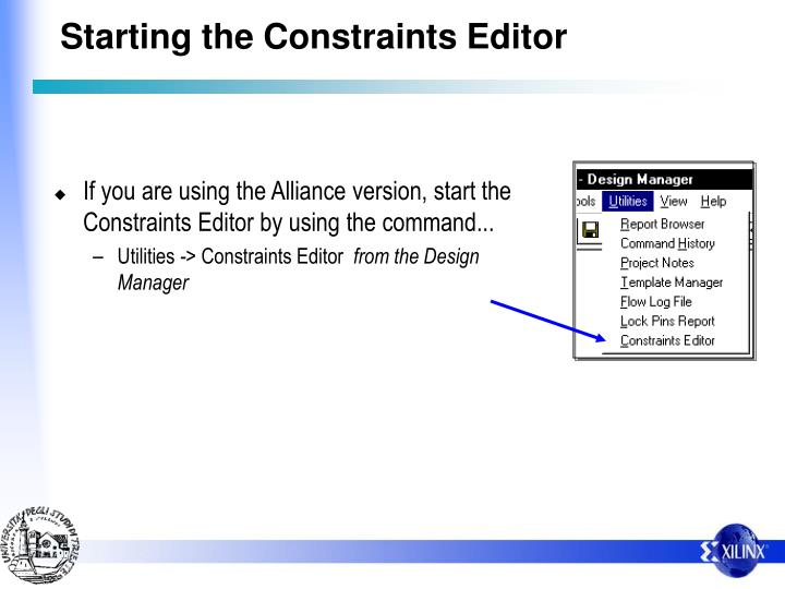 Starting the Constraints Editor