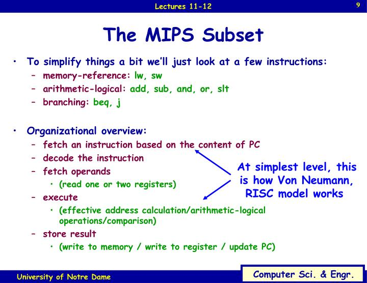 The MIPS Subset